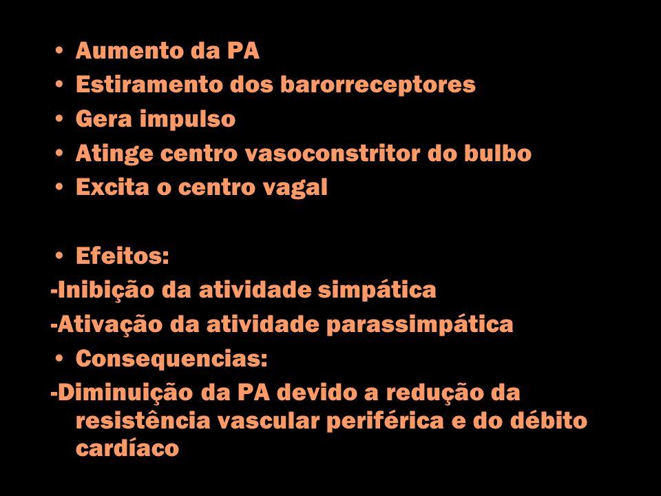 Aumento da PA Estiramento dos barorreceptores Gera impulso Atinge centro vasoconstritor do bulbo Excita o centro vagal Efeitos: -Inibição da atividade