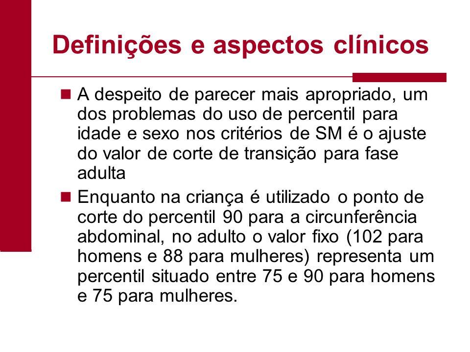 Definições e aspectos clínicos A despeito de parecer mais apropriado, um dos problemas do uso de percentil para idade e sexo nos critérios de SM é o a
