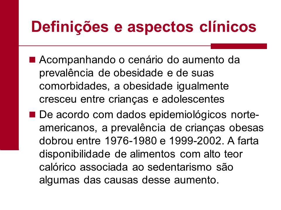 Definições e aspectos clínicos Acompanhando o cenário do aumento da prevalência de obesidade e de suas comorbidades, a obesidade igualmente cresceu en