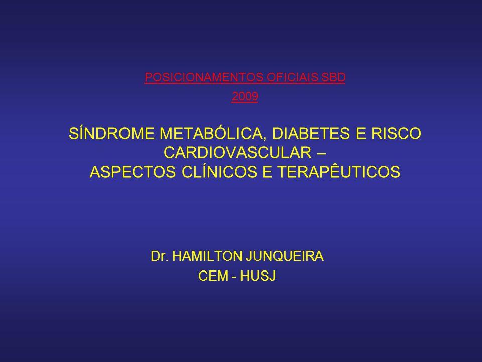 POSICIONAMENTOS OFICIAIS SBD 2009 SÍNDROME METABÓLICA, DIABETES E RISCO CARDIOVASCULAR – ASPECTOS CLÍNICOS E TERAPÊUTICOS Dr.