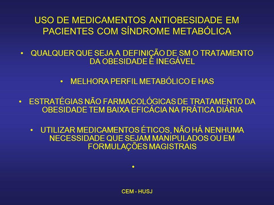CEM - HUSJ USO DE MEDICAMENTOS ANTIOBESIDADE EM PACIENTES COM SÍNDROME METABÓLICA QUALQUER QUE SEJA A DEFINIÇÃO DE SM O TRATAMENTO DA OBESIDADE É INEGÁVEL MELHORA PERFIL METABÓLICO E HAS ESTRATÉGIAS NÃO FARMACOLÓGICAS DE TRATAMENTO DA OBESIDADE TEM BAIXA EFICÁCIA NA PRÁTICA DIÁRIA UTILIZAR MEDICAMENTOS ÉTICOS, NÃO HÁ NENHUMA NECESSIDADE QUE SEJAM MANIPULADOS OU EM FORMULAÇÕES MAGISTRAIS