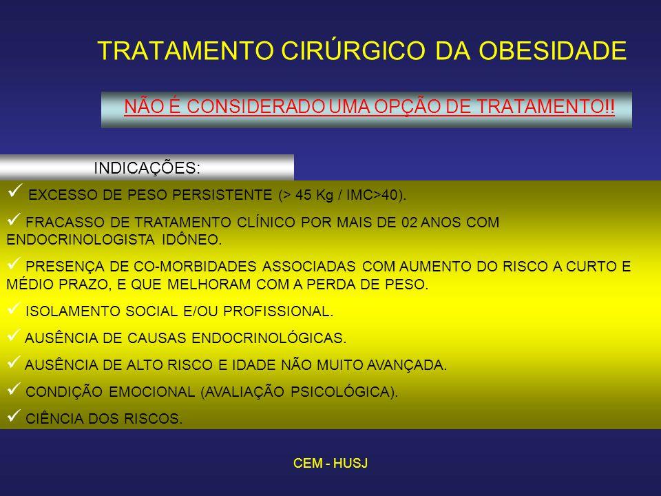 CEM - HUSJ TRATAMENTO CIRÚRGICO DA OBESIDADE NÃO É CONSIDERADO UMA OPÇÃO DE TRATAMENTO!! INDICAÇÕES: EXCESSO DE PESO PERSISTENTE (> 45 Kg / IMC>40). F