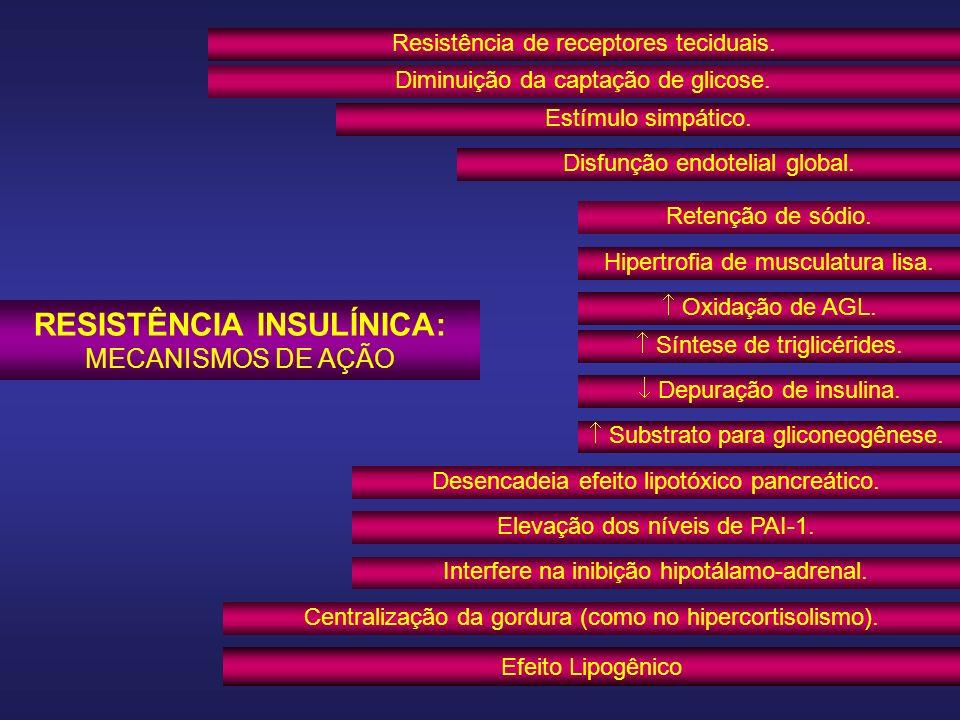 CEM - HUSJ RESISTÊNCIA INSULÍNICA: MECANISMOS DE AÇÃO Resistência de receptores teciduais. Diminuição da captação de glicose. Retenção de sódio. Estím
