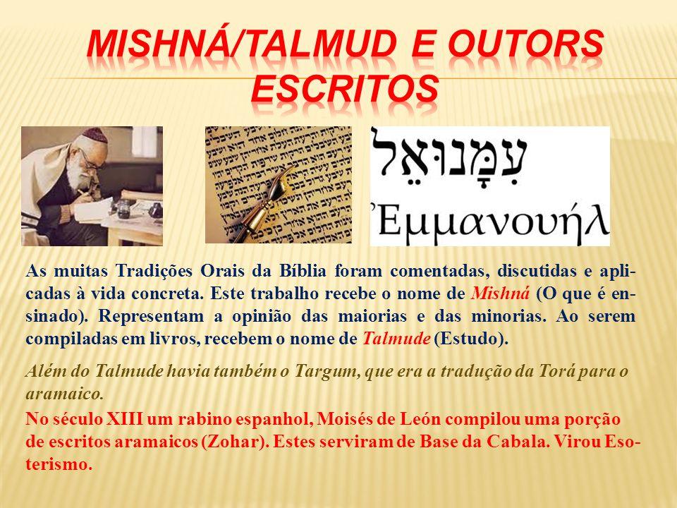 As muitas Tradições Orais da Bíblia foram comentadas, discutidas e apli- cadas à vida concreta. Este trabalho recebe o nome de Mishná (O que é en- sin