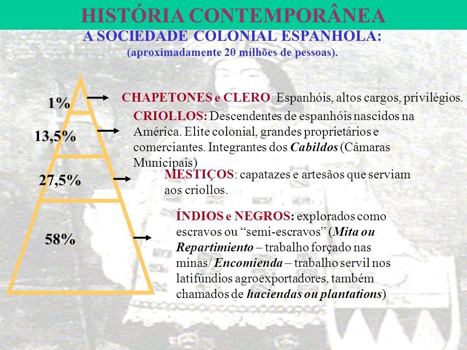 HISTÓRIA CONTEMPORÂNEA A SOCIEDADE COLONIAL ESPANHOLA: (aproximadamente 20 milhões de pessoas).