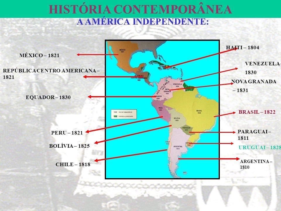 HISTÓRIA CONTEMPORÂNEA A AMÉRICA INDEPENDENTE: MÉXICO – 1821 REPÚBLICA CENTRO AMERICANA – 1821 EQUADOR – 1830 PERU – 1821 VENEZUELA – 1830 HAITI – 1804 NOVA GRANADA – 1831 BOLÍVIA – 1825 CHILE – 1818 ARGENTINA – 1810 URUGUAI – 1828 PARAGUAI – 1811 BRASIL – 1822