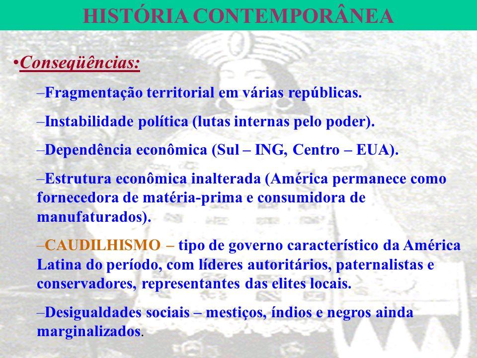HISTÓRIA CONTEMPORÂNEA Conseqüências: –Fragmentação territorial em várias repúblicas.