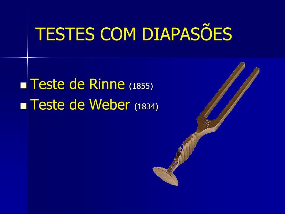 Teste de Rinne (1855) Teste de Rinne (1855) Teste de Weber (1834) Teste de Weber (1834) TESTES COM DIAPASÕES