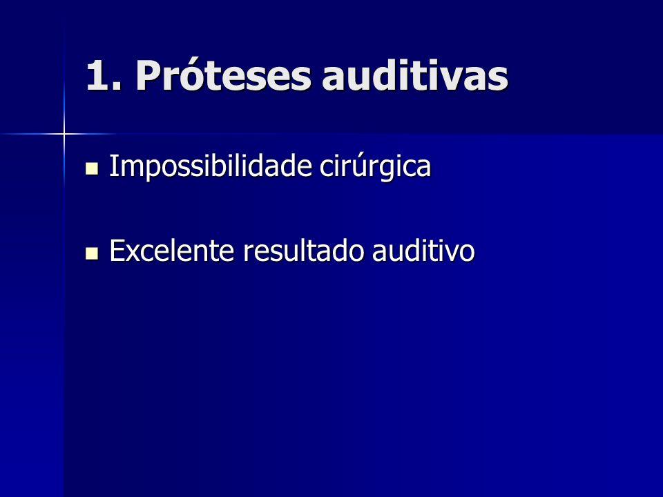 1. Próteses auditivas Impossibilidade cirúrgica Impossibilidade cirúrgica Excelente resultado auditivo Excelente resultado auditivo