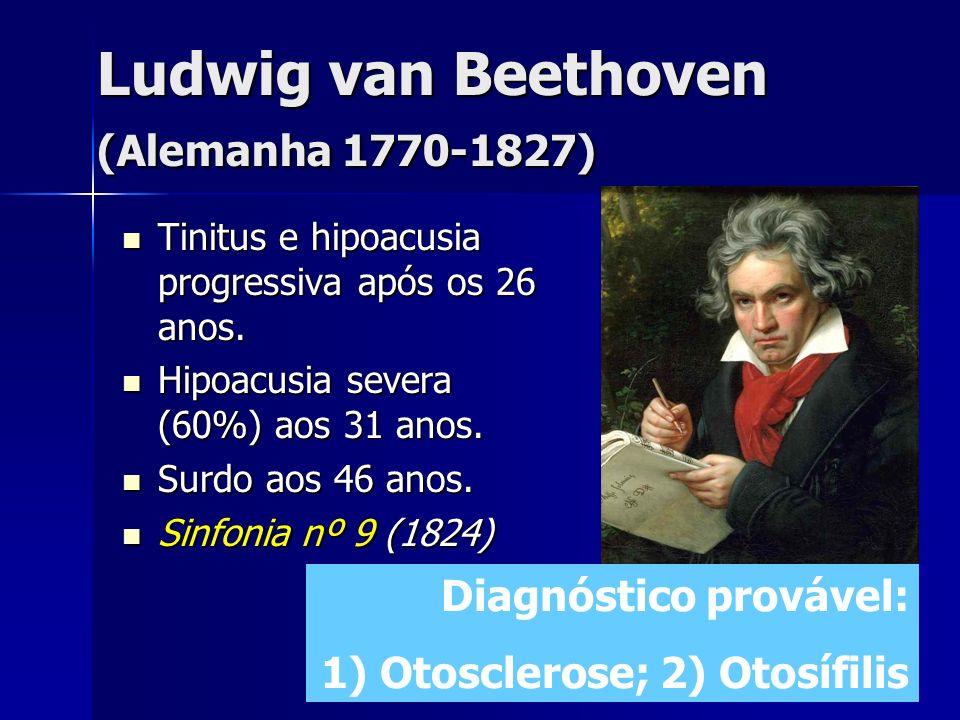 Ludwig van Beethoven (Alemanha 1770-1827) Tinitus e hipoacusia progressiva após os 26 anos. Tinitus e hipoacusia progressiva após os 26 anos. Hipoacus