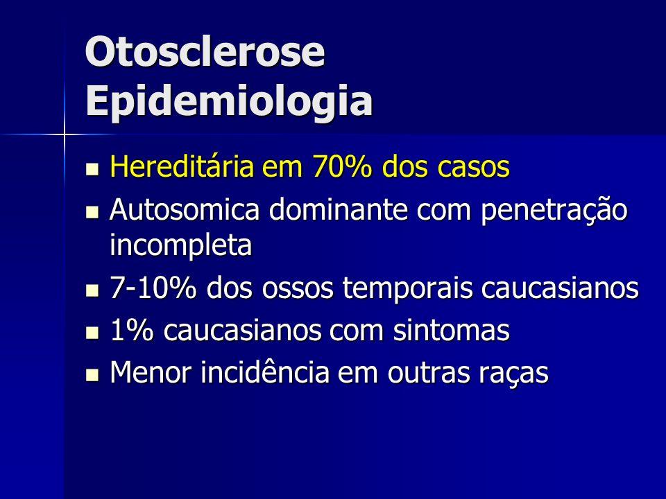 Otosclerose Epidemiologia Hereditária em 70% dos casos Hereditária em 70% dos casos Autosomica dominante com penetração incompleta Autosomica dominant