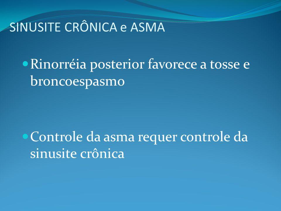 SINUSITE CRÔNICA e ASMA Rinorréia posterior favorece a tosse e broncoespasmo Controle da asma requer controle da sinusite crônica