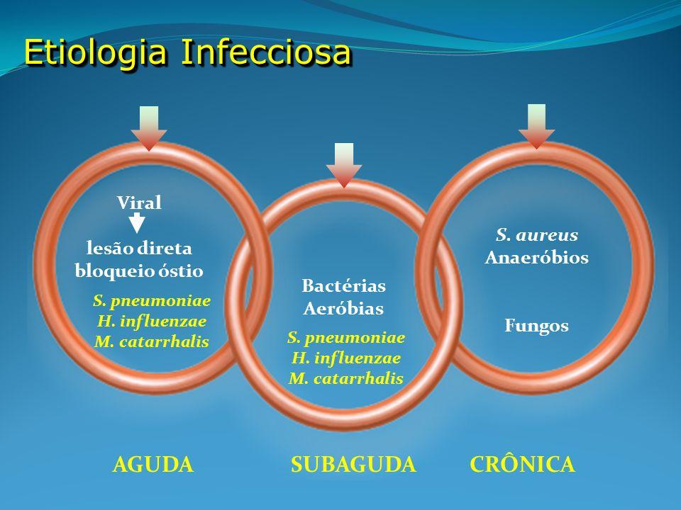 Viral lesão direta bloqueio óstio Bactérias Aeróbias S. aureus Anaeróbios Fungos AGUDA SUBAGUDA CRÔNICA Etiologia Infecciosa S. pneumoniae H. influenz
