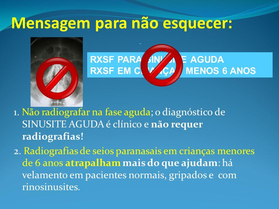 Mensagem para não esquecer: 1. Não radiografar na fase aguda; o diagnóstico de SINUSITE AGUDA é clínico e não requer radiografias! 2. Radiografias de