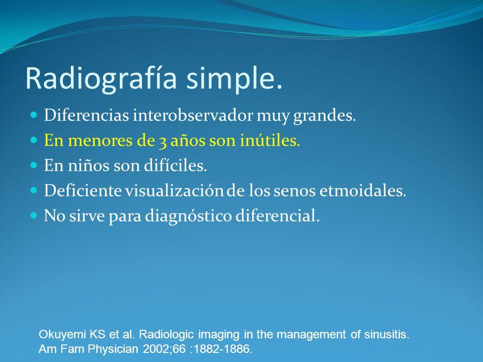 Radiografía simple. Diferencias interobservador muy grandes. En menores de 3 años son inútiles. En niños son difíciles. Deficiente visualización de lo