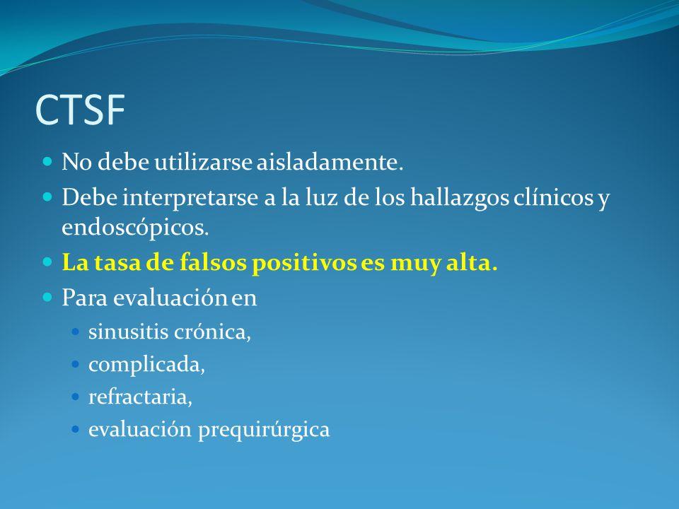 CTSF No debe utilizarse aisladamente. Debe interpretarse a la luz de los hallazgos clínicos y endoscópicos. La tasa de falsos positivos es muy alta. P