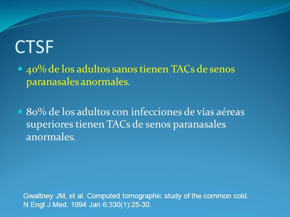 CTSF 40% de los adultos sanos tienen TACs de senos paranasales anormales. 80% de los adultos con infecciones de vías aéreas superiores tienen TACs de