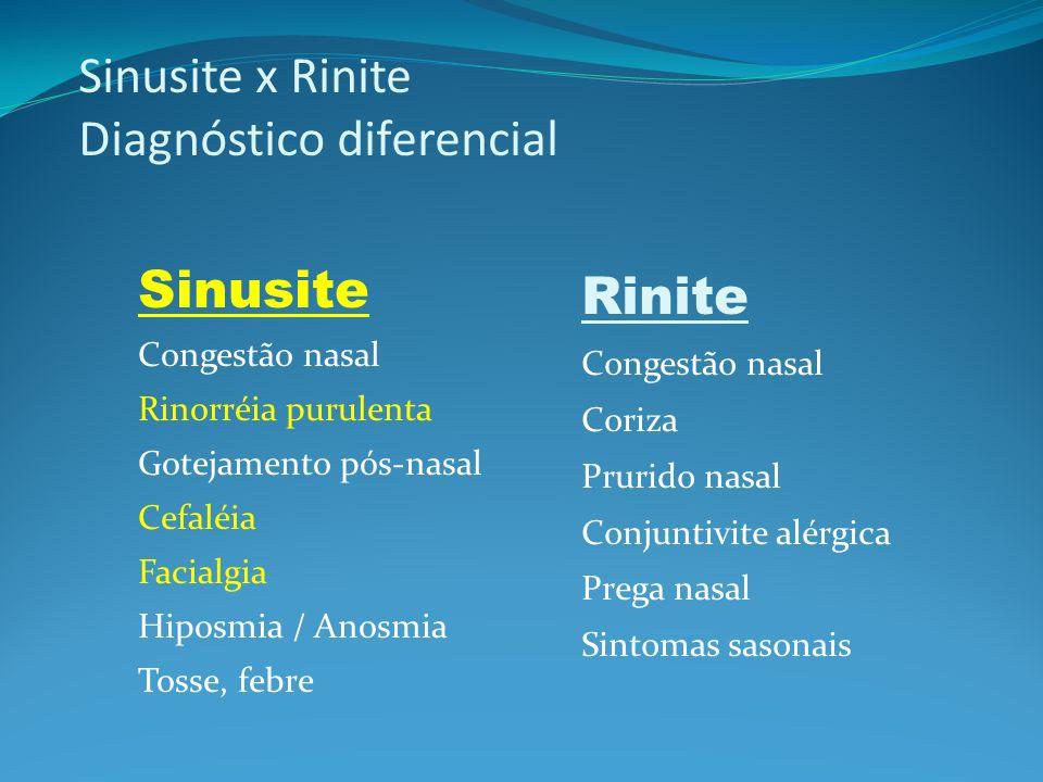 Sinusite x Rinite Diagnóstico diferencial Sinusite Congestão nasal Rinorréia purulenta Gotejamento pós-nasal Cefaléia Facialgia Hiposmia / Anosmia Tos