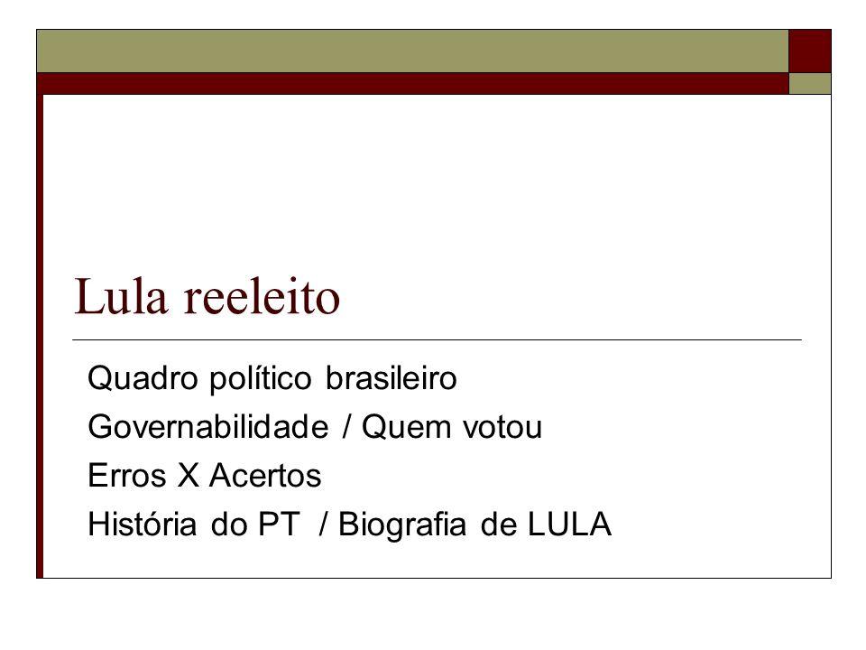 Lula reeleito Quadro político brasileiro Governabilidade / Quem votou Erros X Acertos História do PT / Biografia de LULA