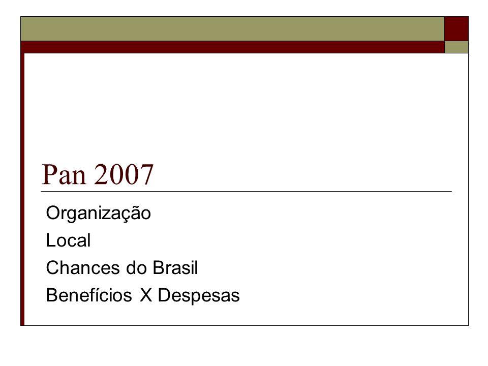 Pan 2007 Organização Local Chances do Brasil Benefícios X Despesas