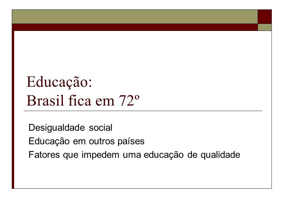 Educação: Brasil fica em 72º Desigualdade social Educação em outros países Fatores que impedem uma educação de qualidade