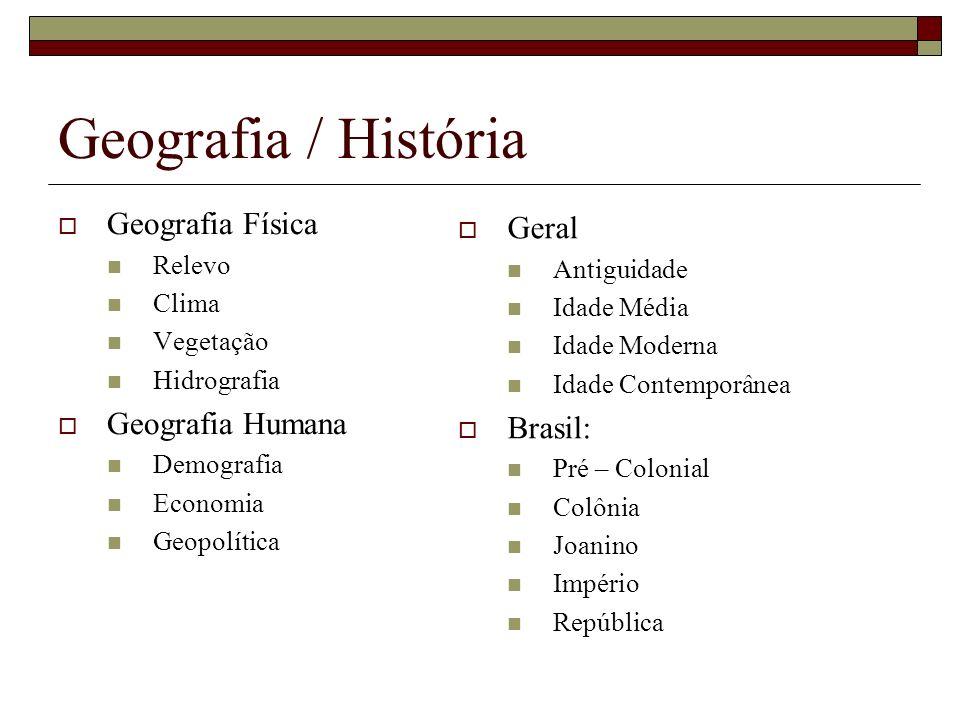 Geografia / História Geografia Física Relevo Clima Vegetação Hidrografia Geografia Humana Demografia Economia Geopolítica Geral Antiguidade Idade Médi