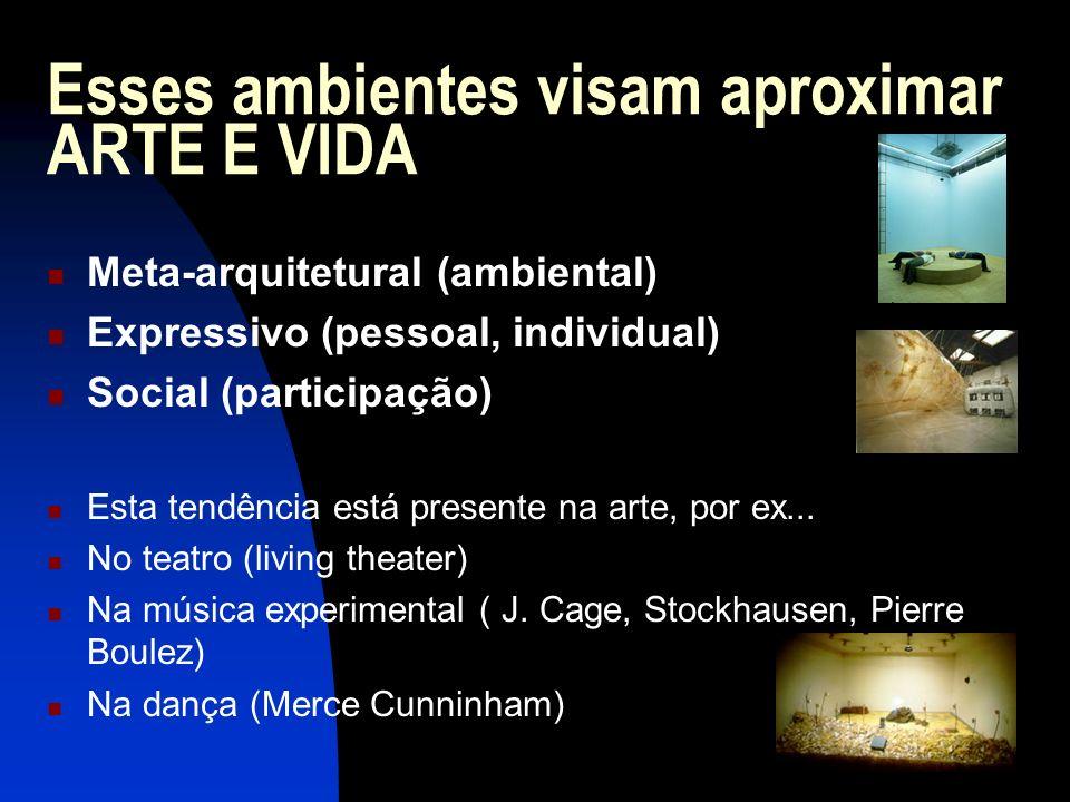 Esses ambientes visam aproximar ARTE E VIDA Meta-arquitetural (ambiental) Expressivo (pessoal, individual) Social (participação) Esta tendência está p