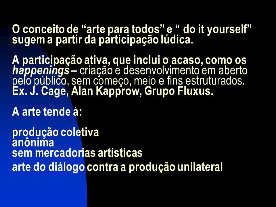 O conceito de arte para todos e do it yourself sugem a partir da participação lúdica. A participação ativa, que inclui o acaso, como os happenings – c