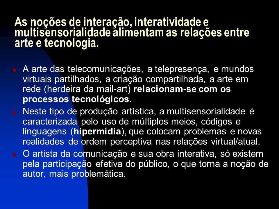 As noções de interação, interatividade e multisensorialidade alimentam as relações entre arte e tecnologia. A arte das telecomunicações, a telepresenç