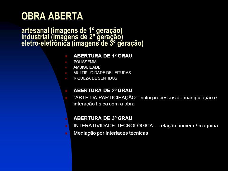OBRA ABERTA artesanal (imagens de 1º geração) industrial (imagens de 2º geração) eletro-eletrônica (imagens de 3º geração) ABERTURA DE 1º GRAU POLISSE