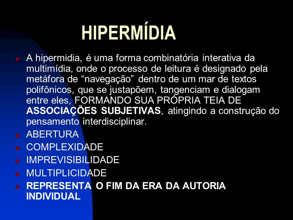 HIPERMÍDIA A hipermidia, é uma forma combinatória interativa da multimídia, onde o processo de leitura é designado pela metáfora de navegação dentro d