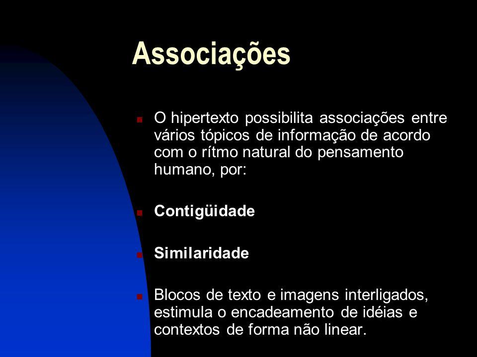 Associações O hipertexto possibilita associações entre vários tópicos de informação de acordo com o rítmo natural do pensamento humano, por: Contigüid