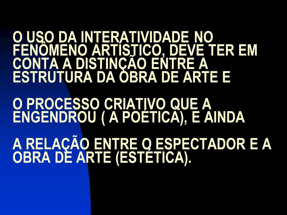 O USO DA INTERATIVIDADE NO FENÔMENO ARTÍSTICO, DEVE TER EM CONTA A DISTINÇÃO ENTRE A ESTRUTURA DA OBRA DE ARTE E O PROCESSO CRIATIVO QUE A ENGENDROU (
