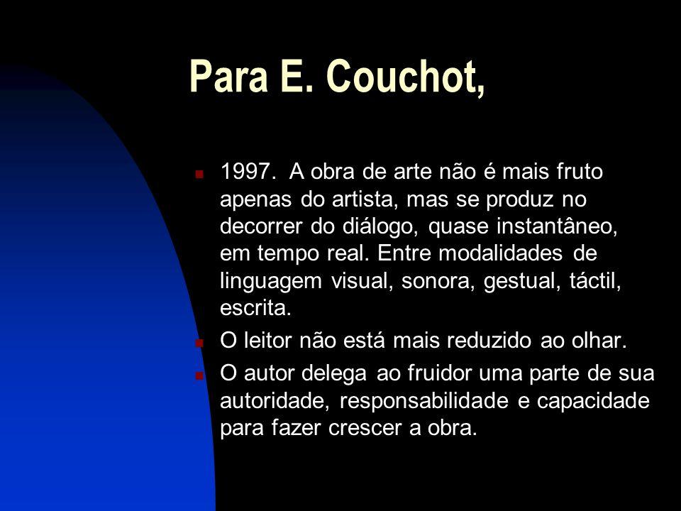 Para E. Couchot, 1997. A obra de arte não é mais fruto apenas do artista, mas se produz no decorrer do diálogo, quase instantâneo, em tempo real. Entr