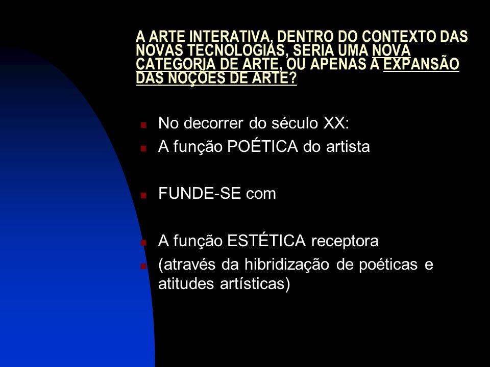 A ARTE INTERATIVA, DENTRO DO CONTEXTO DAS NOVAS TECNOLOGIAS, SERIA UMA NOVA CATEGORIA DE ARTE, OU APENAS A EXPANSÃO DAS NOÇÕES DE ARTE? No decorrer do