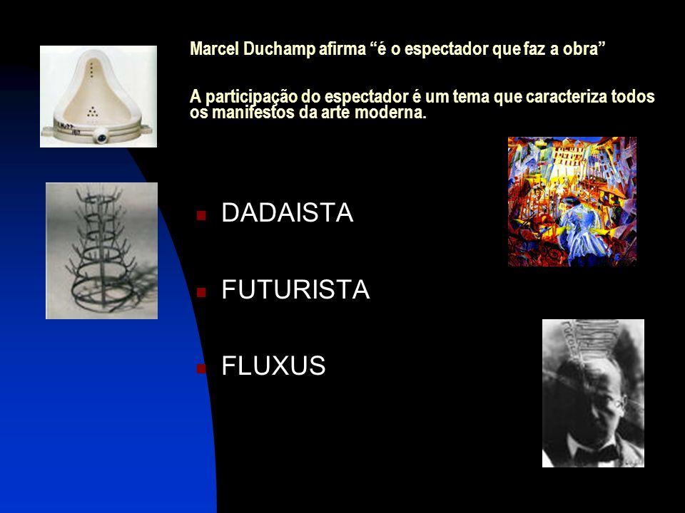 Marcel Duchamp afirma é o espectador que faz a obra A participação do espectador é um tema que caracteriza todos os manifestos da arte moderna. DADAIS
