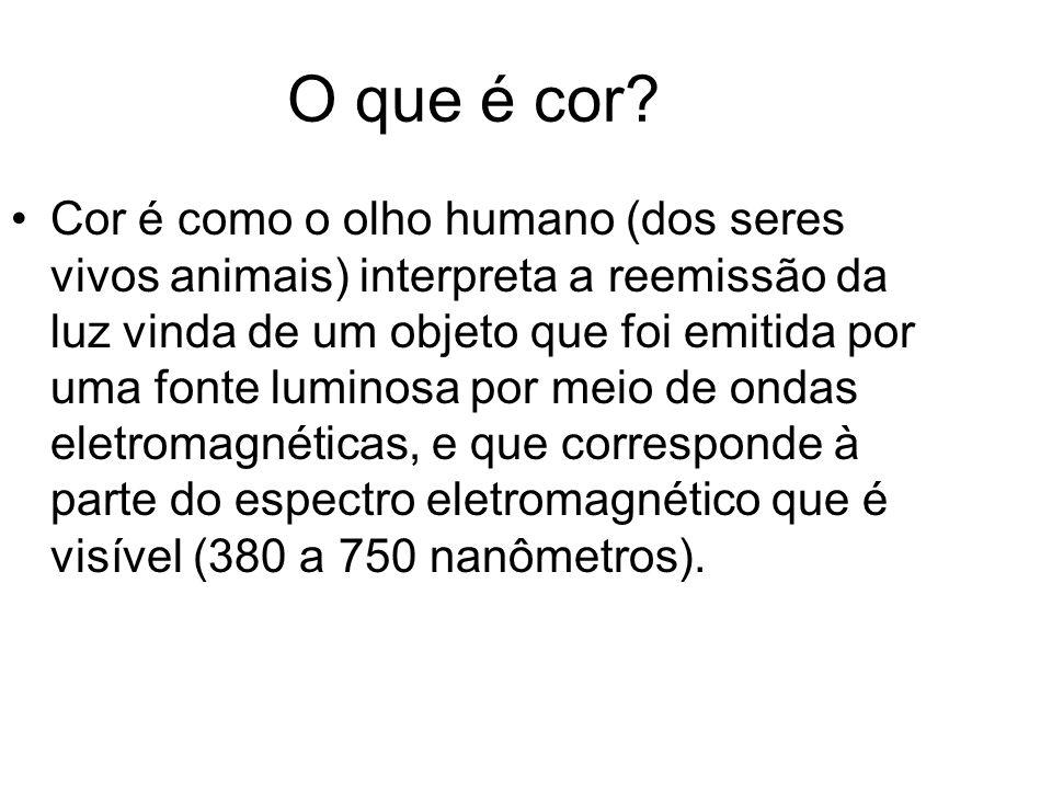 O que é cor? Cor é como o olho humano (dos seres vivos animais) interpreta a reemissão da luz vinda de um objeto que foi emitida por uma fonte luminos