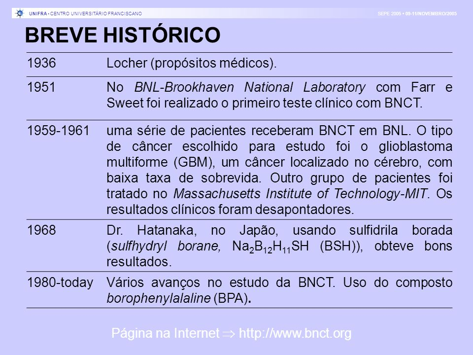 BREVE HISTÓRICO 1936Locher (propósitos médicos). 1951No BNL-Brookhaven National Laboratory com Farr e Sweet foi realizado o primeiro teste clínico com