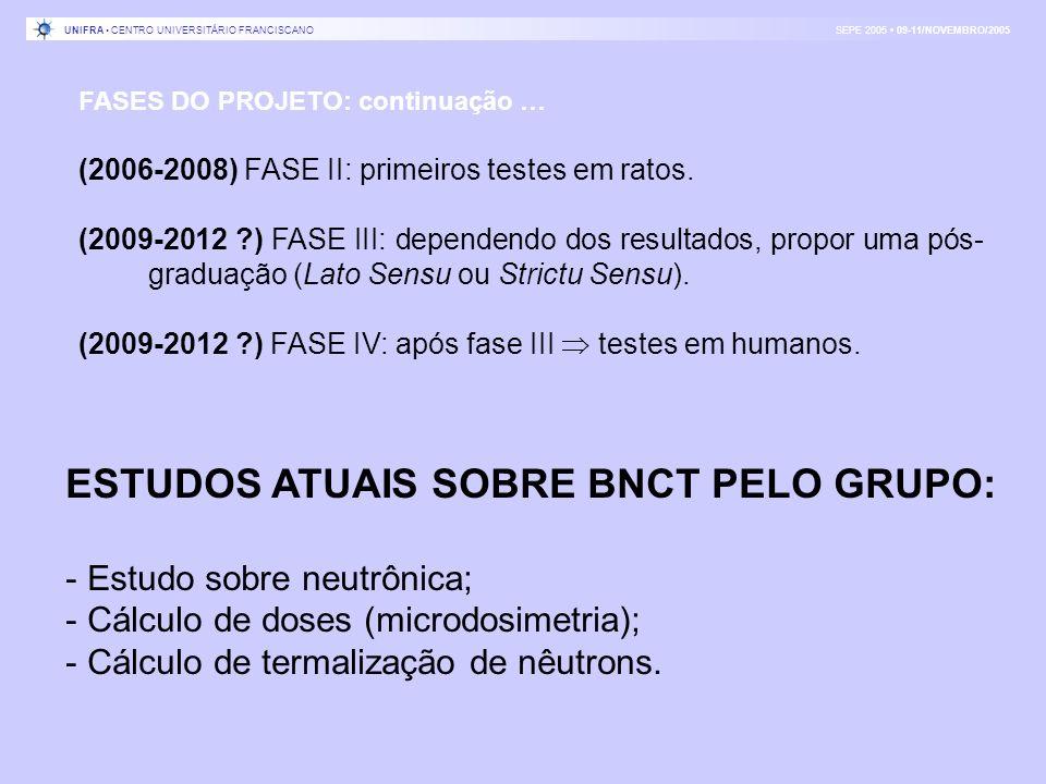 FASES DO PROJETO: continuação … (2006-2008) FASE II: primeiros testes em ratos. (2009-2012 ?) FASE III: dependendo dos resultados, propor uma pós- gra