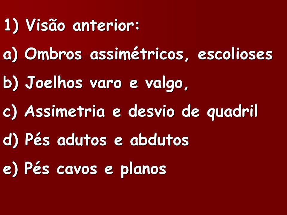 1) Visão anterior: a) Ombros assimétricos, escolioses b) Joelhos varo e valgo, c) Assimetria e desvio de quadril d) Pés adutos e abdutos e) Pés cavos