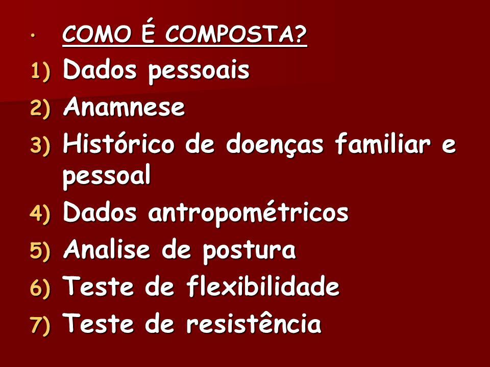 COMO É COMPOSTA? COMO É COMPOSTA? 1) Dados pessoais 2) Anamnese 3) Histórico de doenças familiar e pessoal 4) Dados antropométricos 5) Analise de post