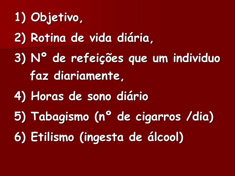 1) Objetivo, 2) Rotina de vida diária, 3) Nº de refeições que um individuo faz diariamente, 4) Horas de sono diário 5) Tabagismo (nº de cigarros /dia)