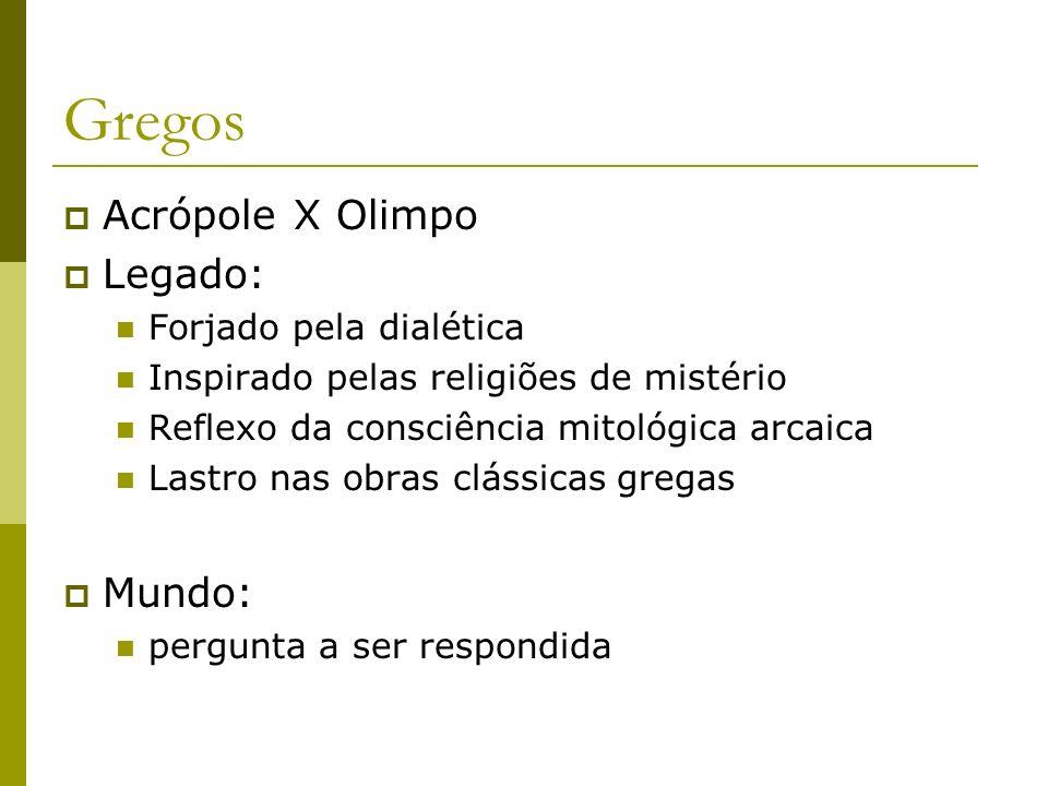 Gregos Acrópole X Olimpo Legado: Forjado pela dialética Inspirado pelas religiões de mistério Reflexo da consciência mitológica arcaica Lastro nas obr