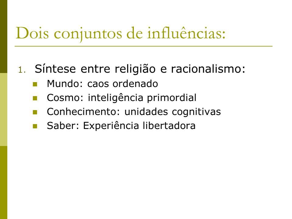 Dois conjuntos de influências: 1. Síntese entre religião e racionalismo: Mundo: caos ordenado Cosmo: inteligência primordial Conhecimento: unidades co