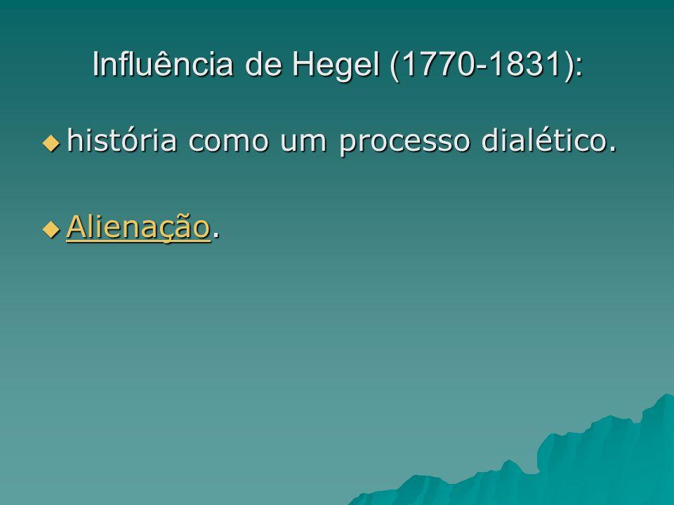 Influência de Hegel (1770-1831): história como um processo dialético. história como um processo dialético. Alienação. Alienação. Alienação