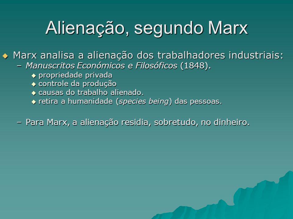 Alienação, segundo Marx Marx analisa a alienação dos trabalhadores industriais: Marx analisa a alienação dos trabalhadores industriais: –Manuscritos E