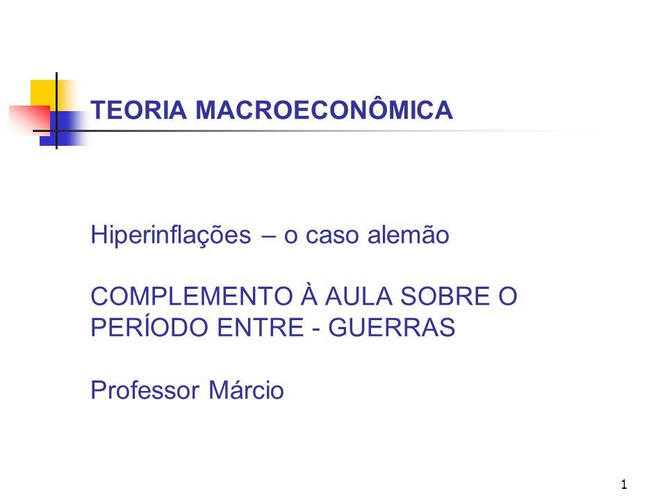 1 TEORIA MACROECONÔMICA Hiperinflações – o caso alemão COMPLEMENTO À AULA SOBRE O PERÍODO ENTRE - GUERRAS Professor Márcio