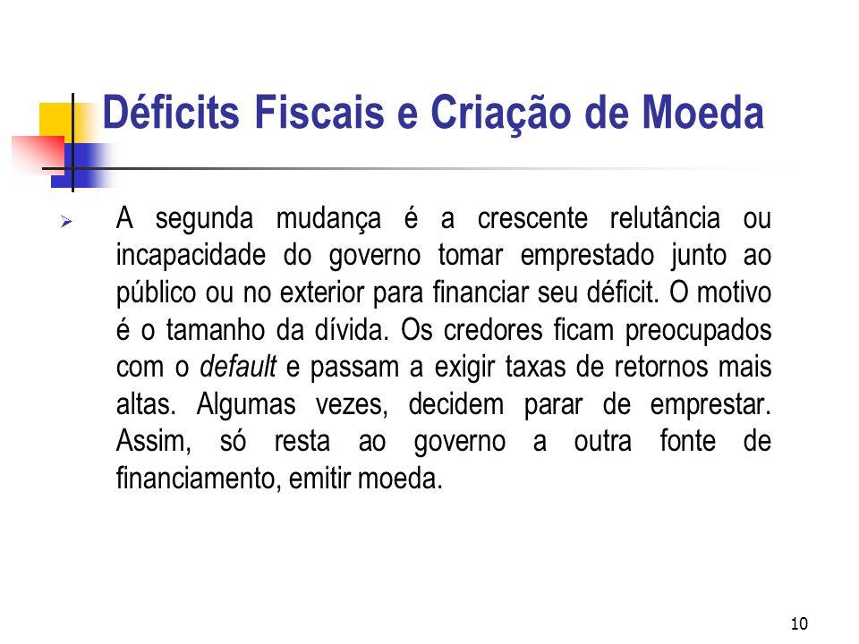 10 Déficits Fiscais e Criação de Moeda A segunda mudança é a crescente relutância ou incapacidade do governo tomar emprestado junto ao público ou no e