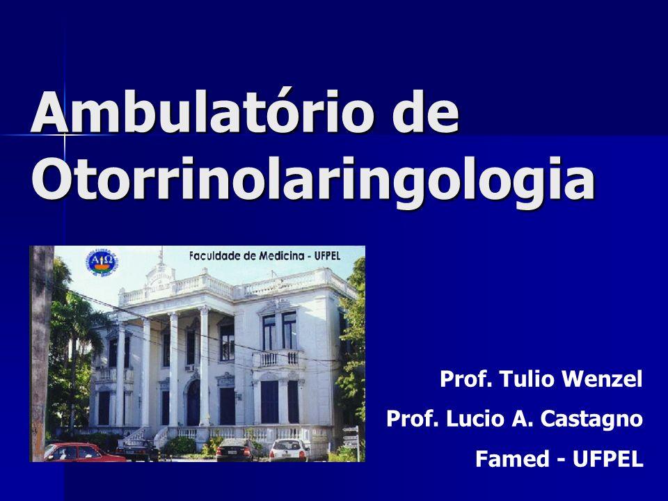 Ambulatório de Otorrinolaringologia Prof. Tulio Wenzel Prof. Lucio A. Castagno Famed - UFPEL