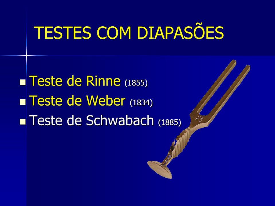 Teste de Rinne (1855) Teste de Rinne (1855) Teste de Weber (1834) Teste de Weber (1834) Teste de Schwabach (1885) Teste de Schwabach (1885) TESTES COM DIAPASÕES